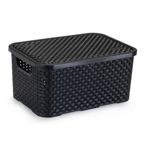 Caixa-Organizadora-de-Plastico-Rattan-Medio-com-Tampa-Preto-90150430